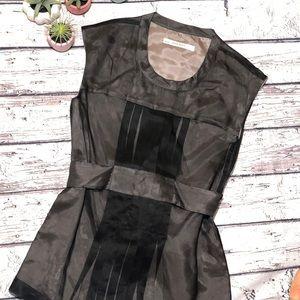 Zara | Silk Belted Sleeveless Blouse
